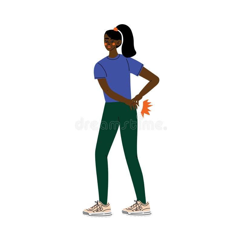 Jeune femme d'Afro-américain souffrant de la douleur lombo-sacrée provoquée par l'illustration de vecteur de maladie ou de blessu illustration libre de droits