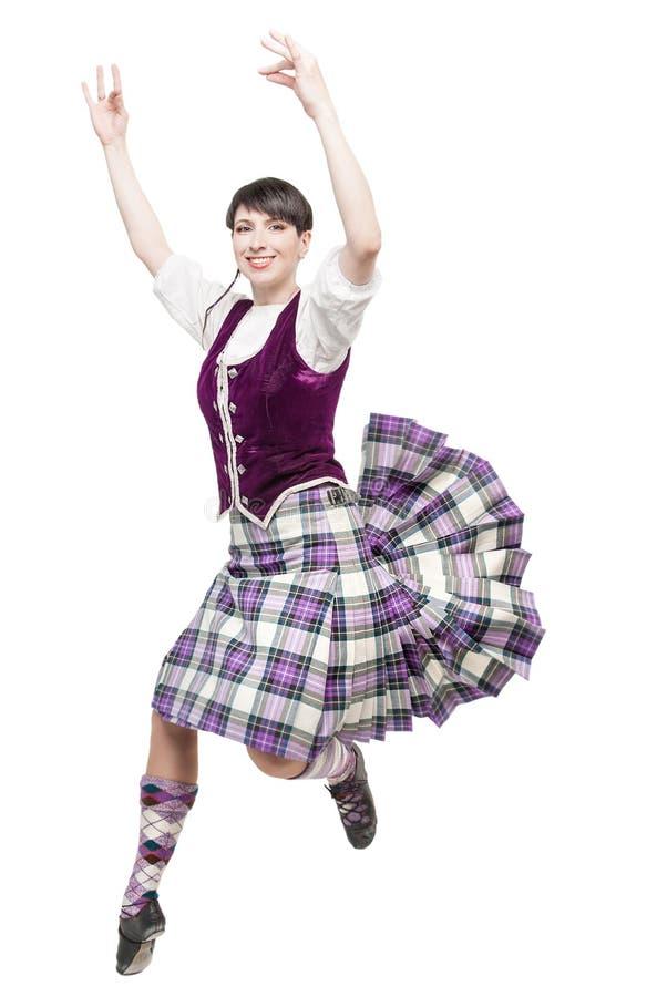Jeune femme dans l'habillement pour la danse d'écossais images stock