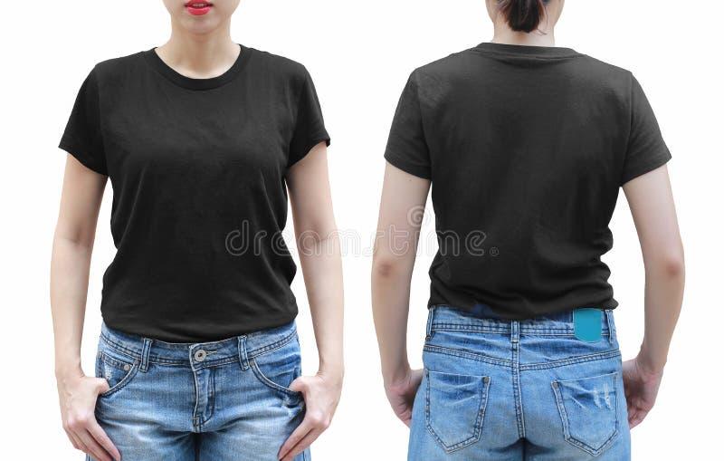 Jeune femme dans la chemise noire sur le fond blanc Avec couper la PA images libres de droits