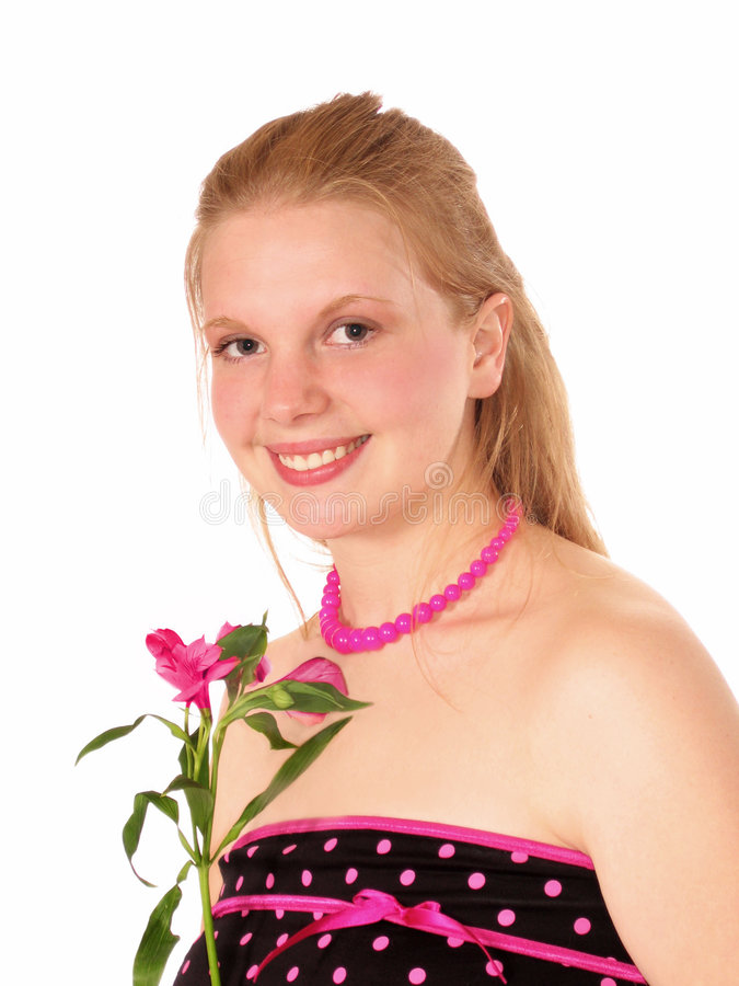 Jeune femme dans la jolie robe image stock