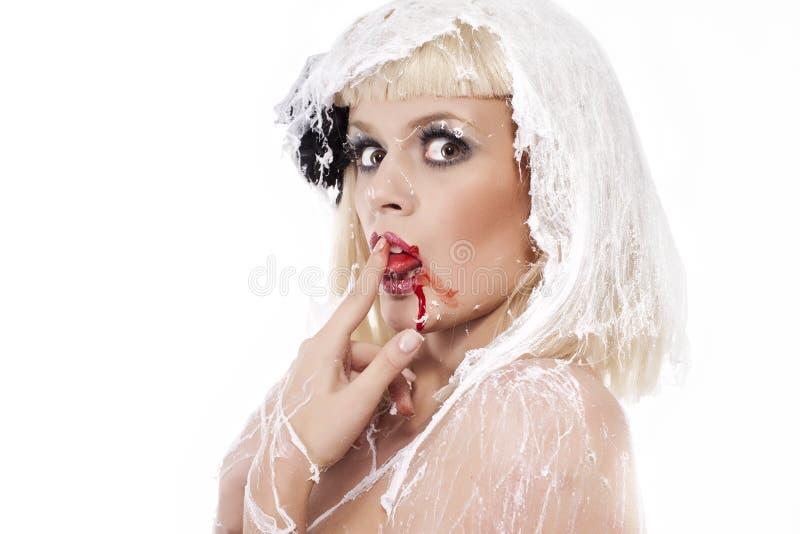 Jeune femme dans la toile d'araignee photo libre de droits