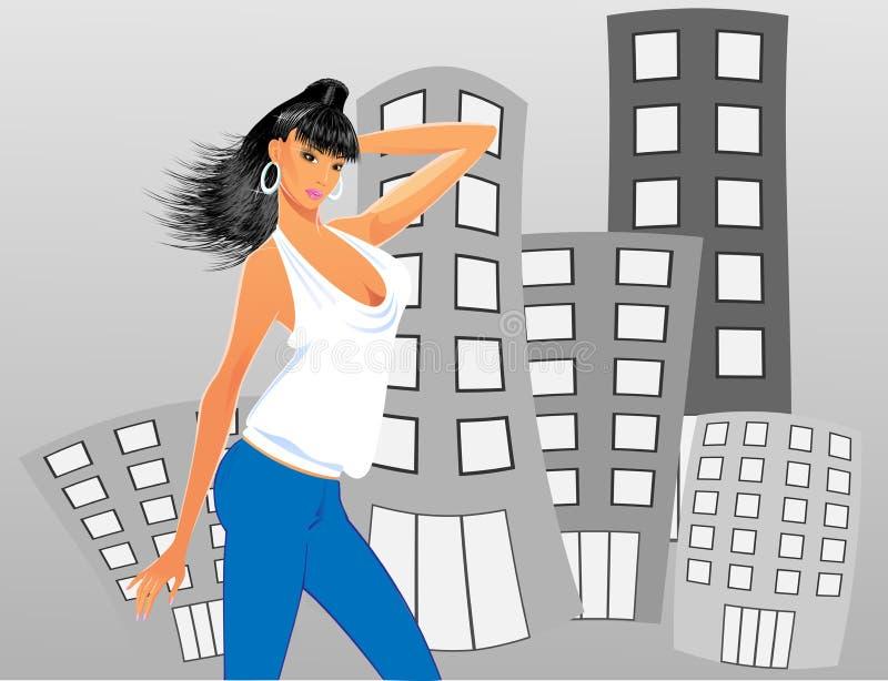 Jeune femme dans la ville illustration libre de droits