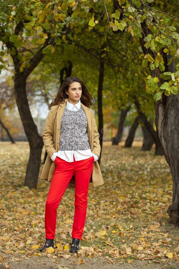 Jeune femme dans le manteau de mode marchant en parc d'automne photos libres de droits