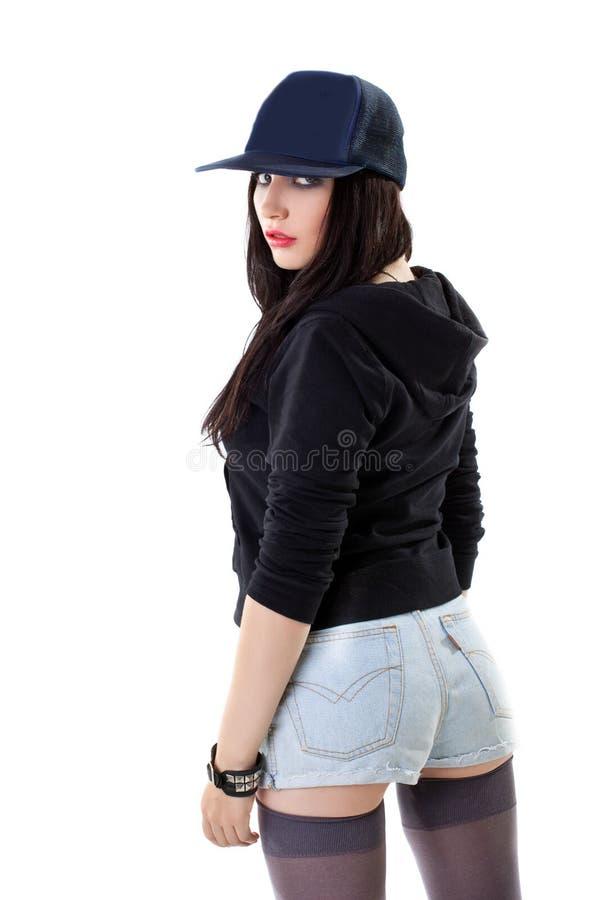 jeune femme dans le type grunge avec la casquette de baseball photo stock image du noir. Black Bedroom Furniture Sets. Home Design Ideas