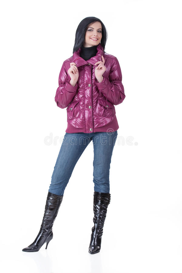 Jeune femme dans le vêtement à la mode images libres de droits