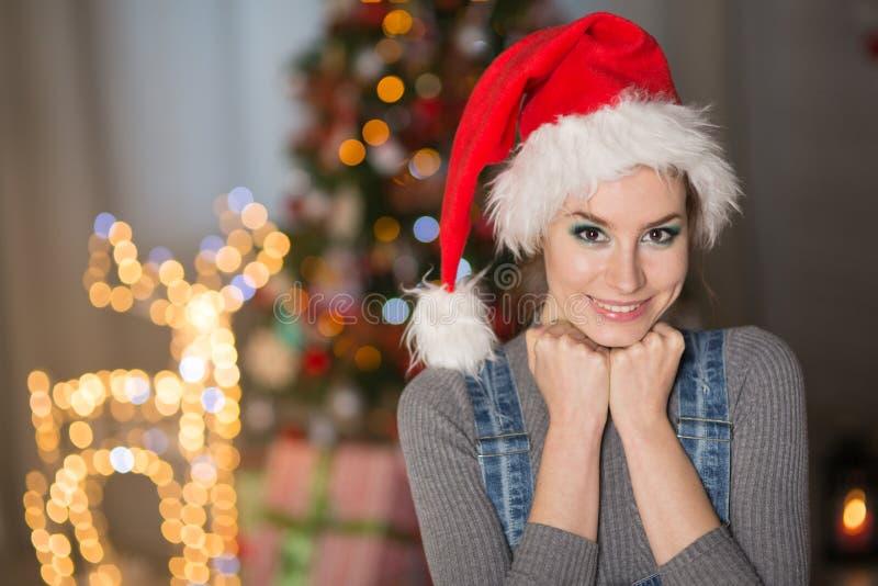 Jeune femme dans un chapeau de Noël photographie stock libre de droits