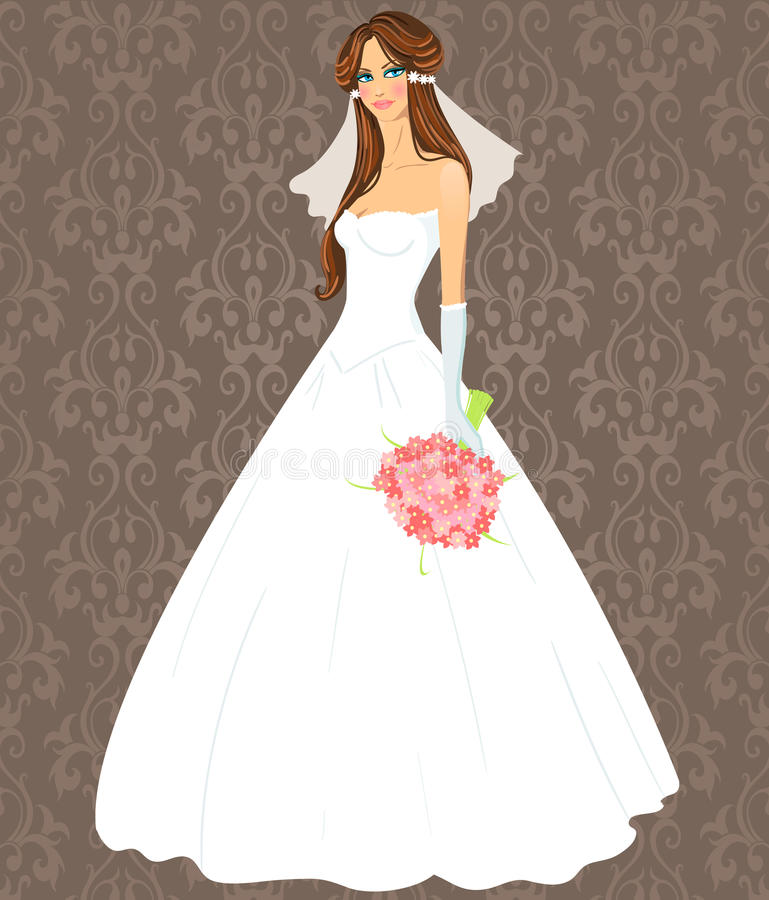 Jeune femme dans une robe de mariage illustration libre de droits