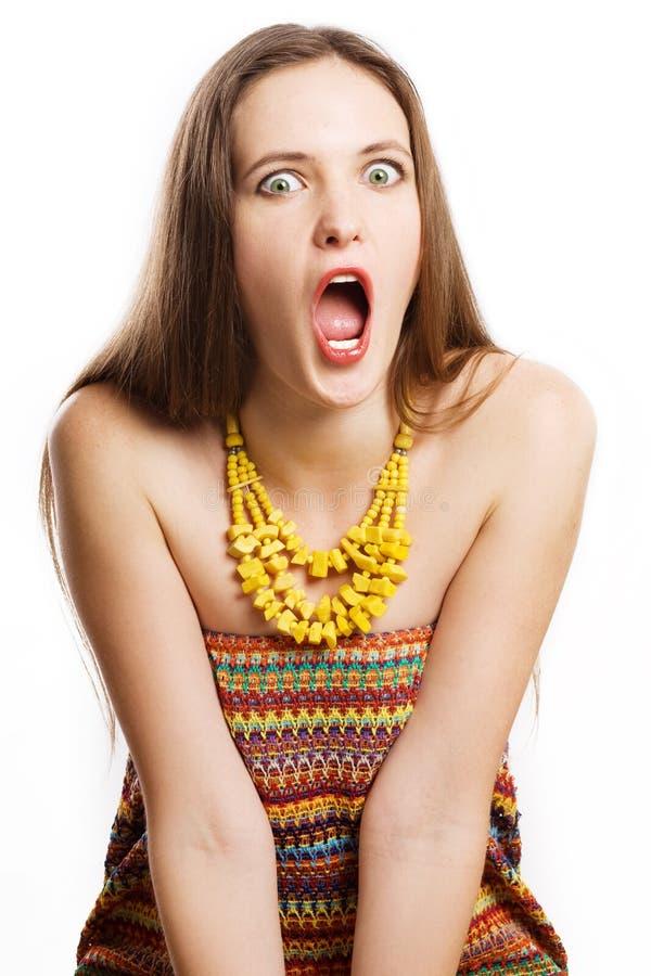 Jeune femme de beauté choquée images libres de droits
