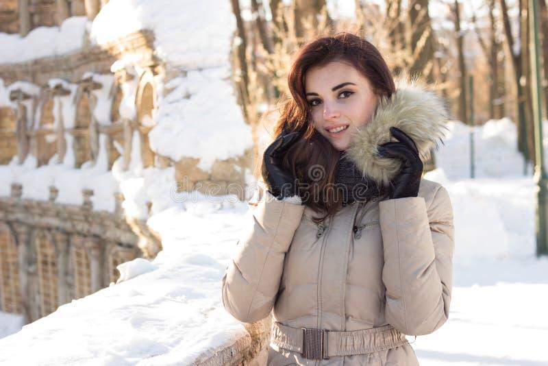 Jeune femme de beauté en parc d'hiver photographie stock libre de droits