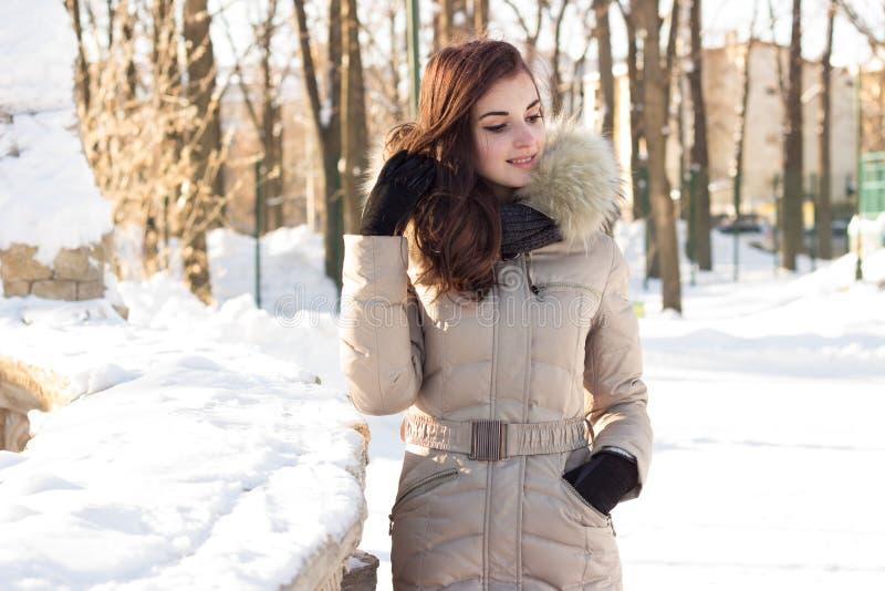 Jeune femme de beauté en parc d'hiver photos libres de droits