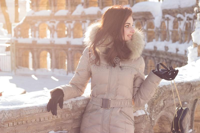 Jeune femme de beauté en parc d'hiver images libres de droits