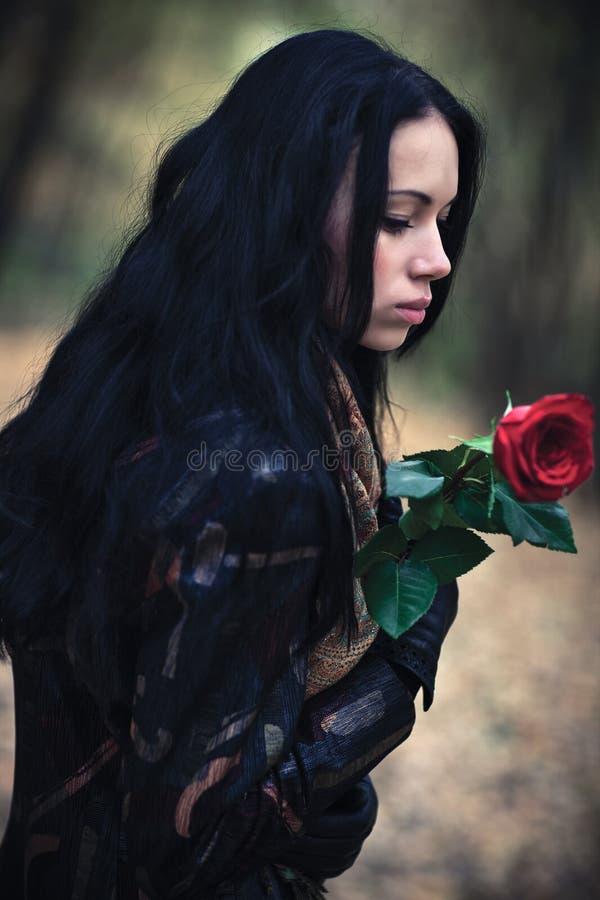 Jeune femme de brunette avec la verticale rose de rouge image stock