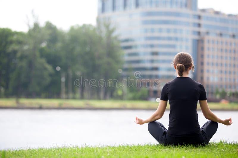 Download Jeune Femme De Bureau S'asseyant Dans La Pose De Yoga Image stock - Image du corporate, concept: 56476081