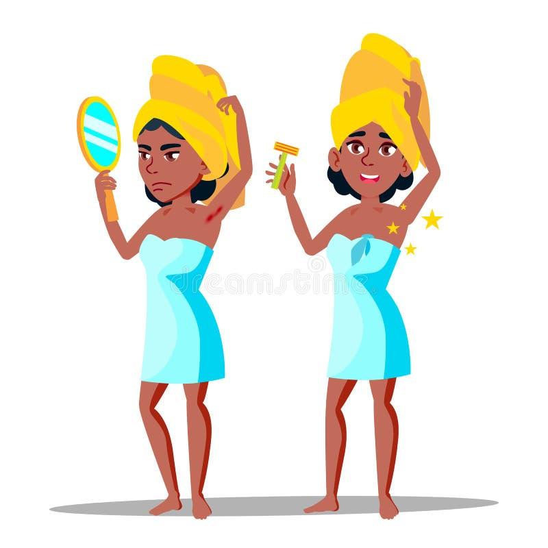 Jeune femme de caract?re avec le vecteur velu d'aisselle illustration libre de droits