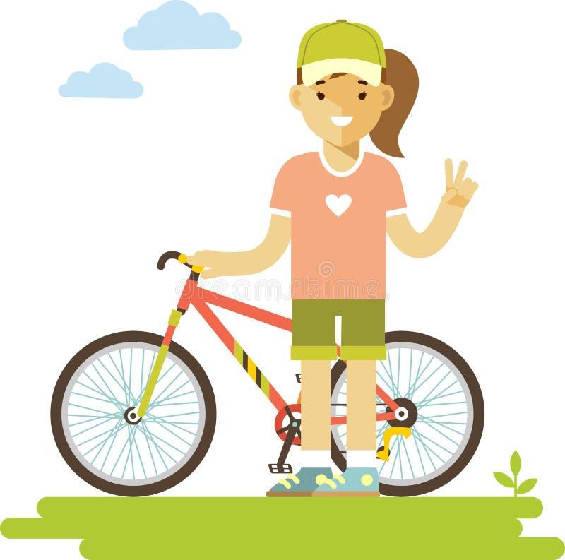 Jeune femme de cavalier de bicyclette avec le vélo dans le style plat illustration libre de droits