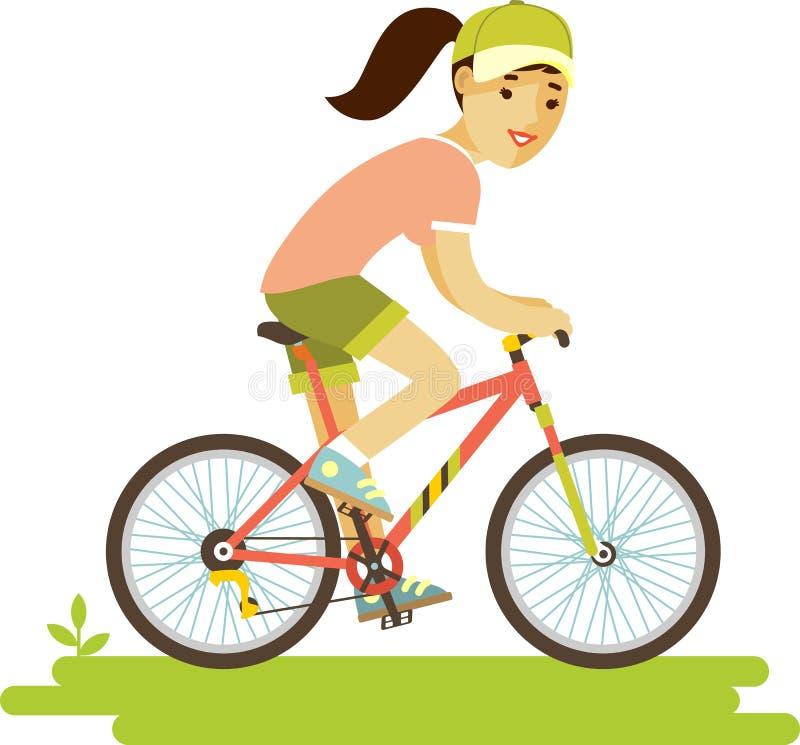 Jeune femme de cavalier de bicyclette avec le vélo dans le style plat illustration de vecteur