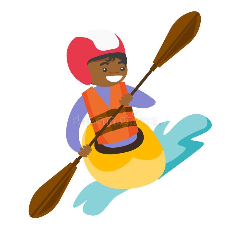 Jeune femme de couleur montant un kayak illustration de vecteur