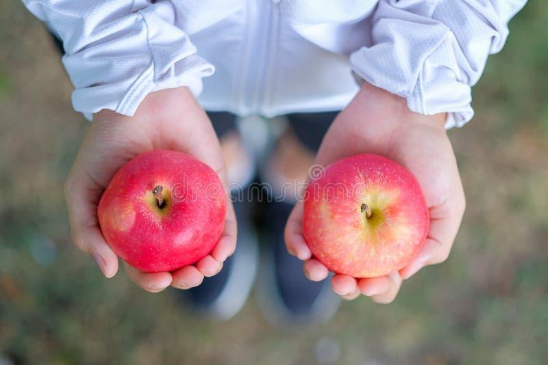 Jeune femme de forme physique se tenant dans la pomme de rouge de mains photo libre de droits