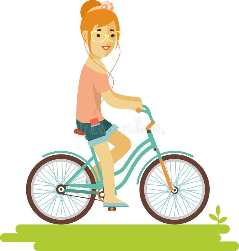 Jeune femme de hippie de cavalier de bicyclette avec le vélo dans le style plat illustration libre de droits