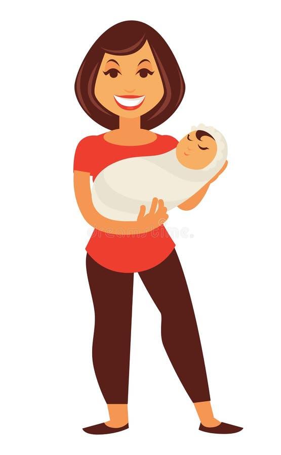 Jeune femme de mère tenant la famille plate de bébé de vecteur nouveau-né d'enfant illustration libre de droits