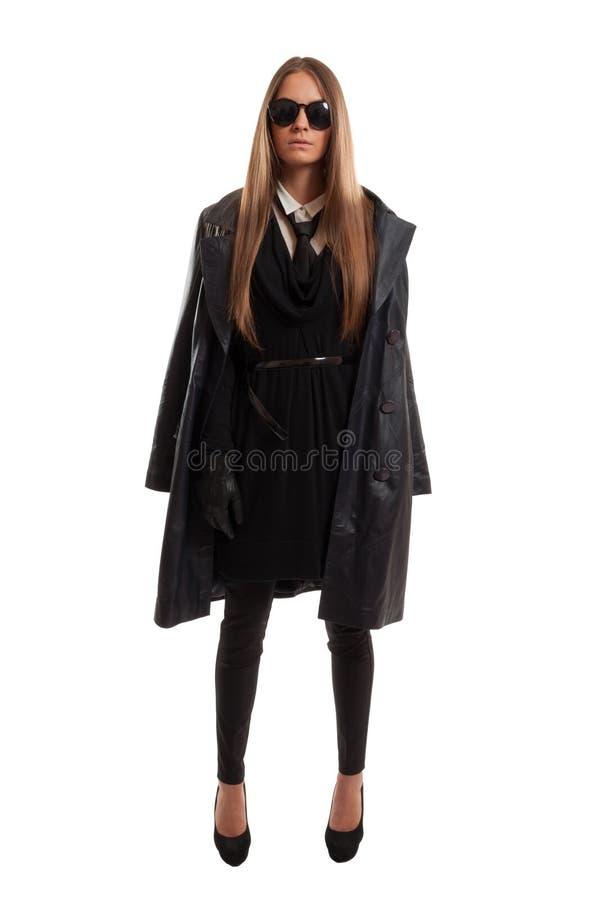 Jeune femme de police secrète photographie stock
