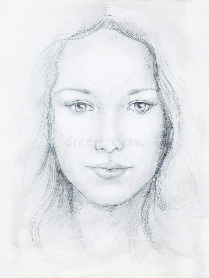 Jeune Femme De Portrait De Dessin Avec Lornement Sur Le
