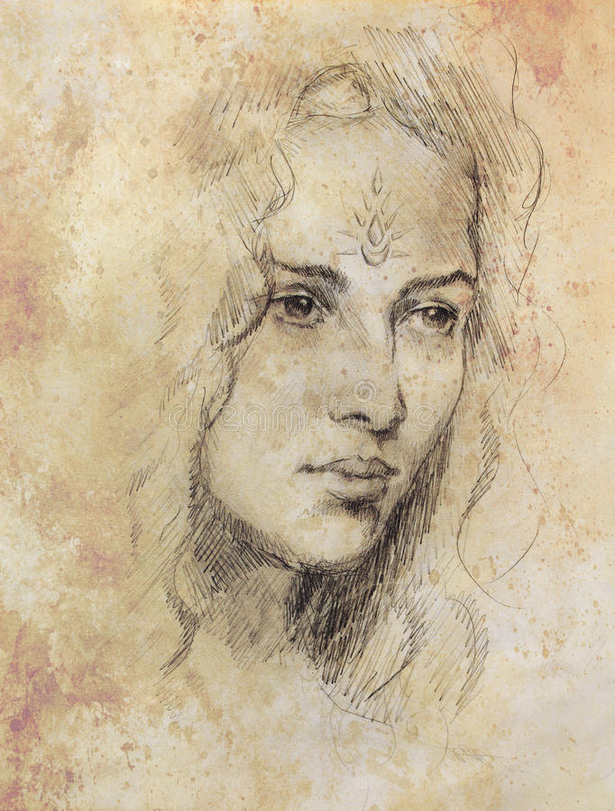 Jeune femme de portrait de dessin avec l'ornement sur le visage, peinture de couleur sur le fond abstrait, collage d'ordinateur illustration libre de droits