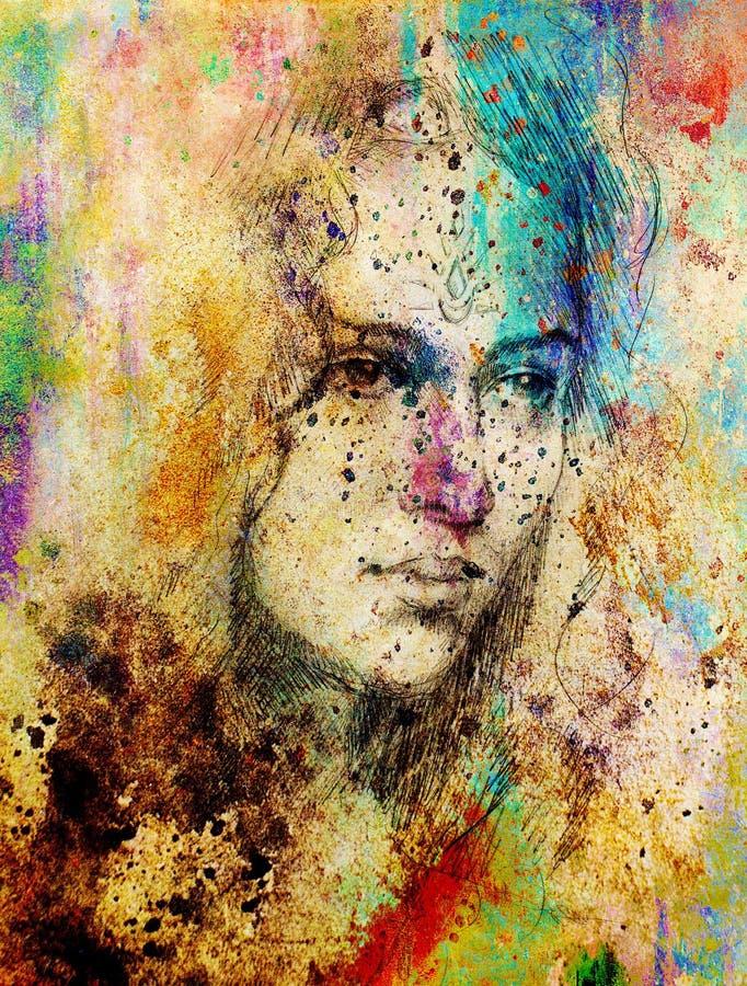 Jeune femme de portrait de dessin avec l'ornement sur le visage, peinture de couleur sur le fond abstrait, collage d'ordinateur illustration de vecteur