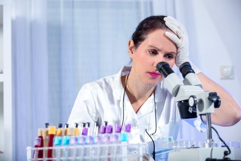 Jeune femme de scientifique travaillant au laboratoire photographie stock libre de droits