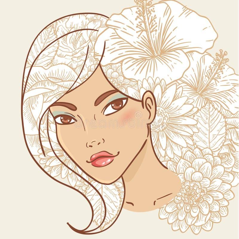 Jeune femme de sourire attirante avec le cheveu floral illustration de vecteur