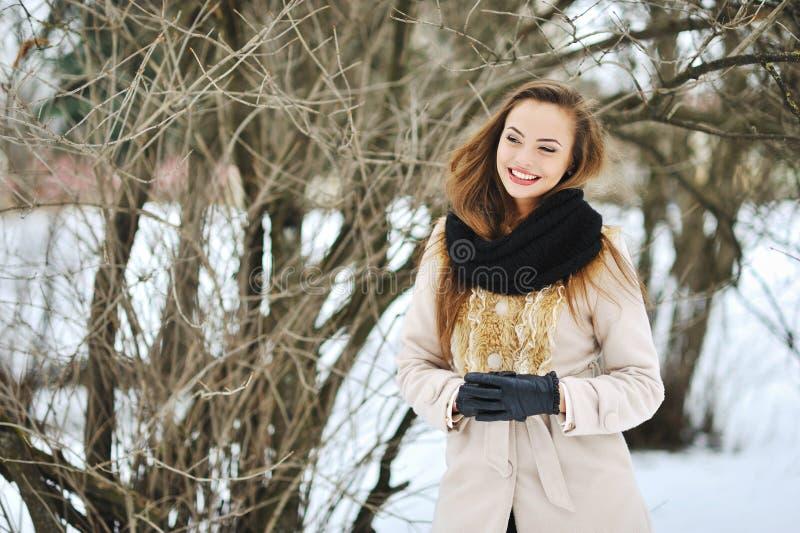 Jeune femme de sourire attirante en parc d'hiver images libres de droits
