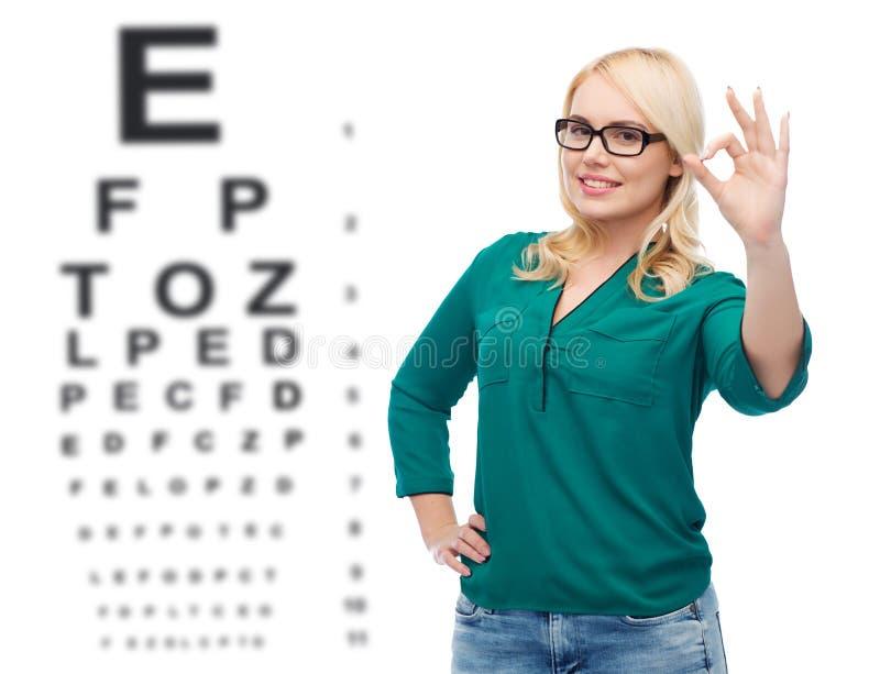 Jeune femme de sourire avec des lunettes montrant correct photographie stock