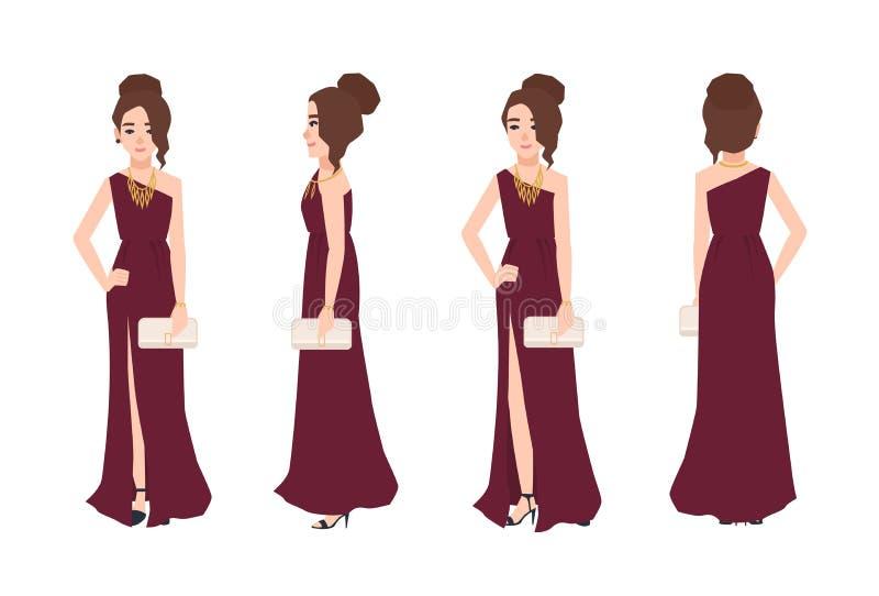 Jeune femme de sourire avec la coiffure élégante portant la longue robe de soirée d'un-épaule avec la fente avant et l'embrayage  illustration de vecteur
