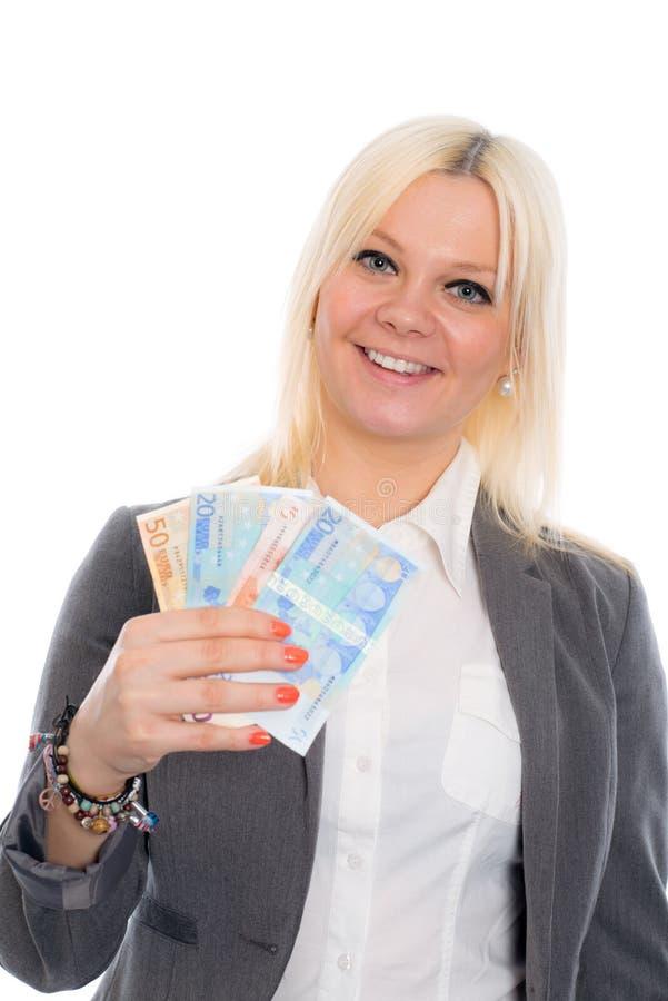 Jeune femme de sourire d'affaires avec des euros images libres de droits