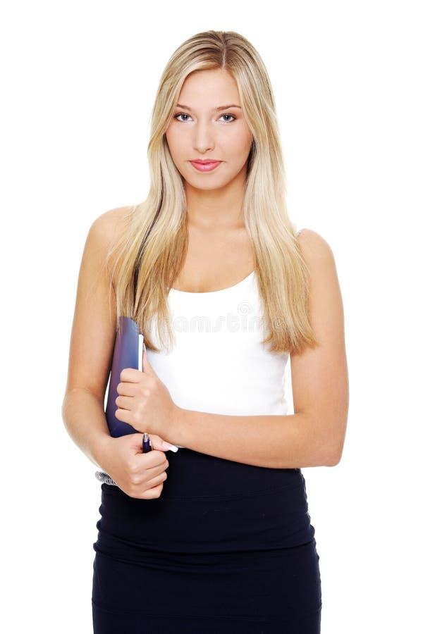 Jeune femme de sourire heureux d'étudiant. photographie stock