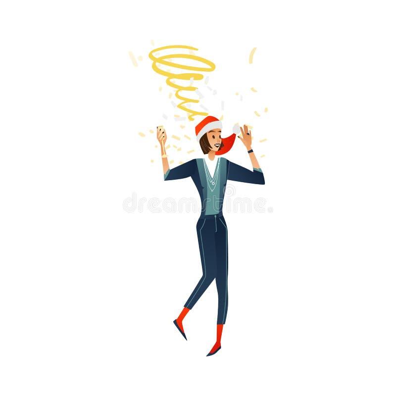 Jeune femme de vecteur à la fête de Noël dans le chapeau illustration stock