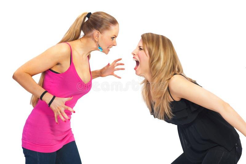 Jeune femme deux en conflit image stock