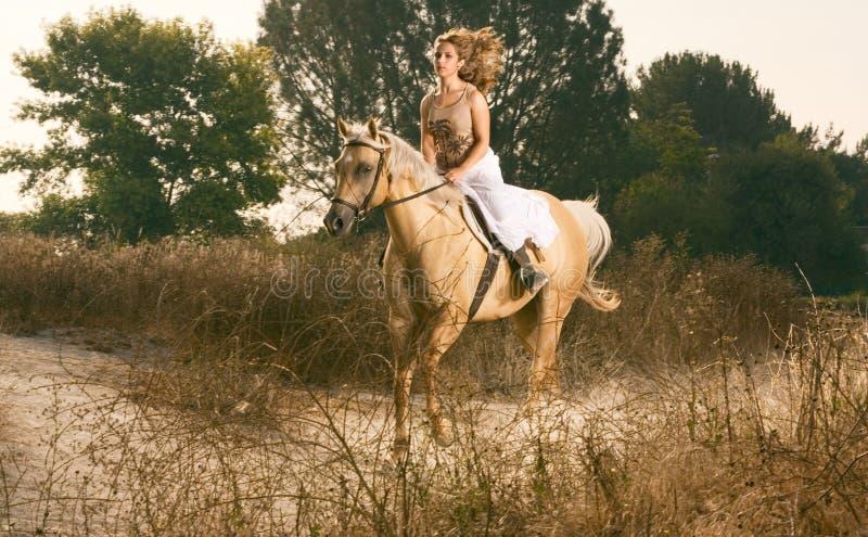 Jeune femme emballant sur le cheval (tache floue de mouvement) photographie stock
