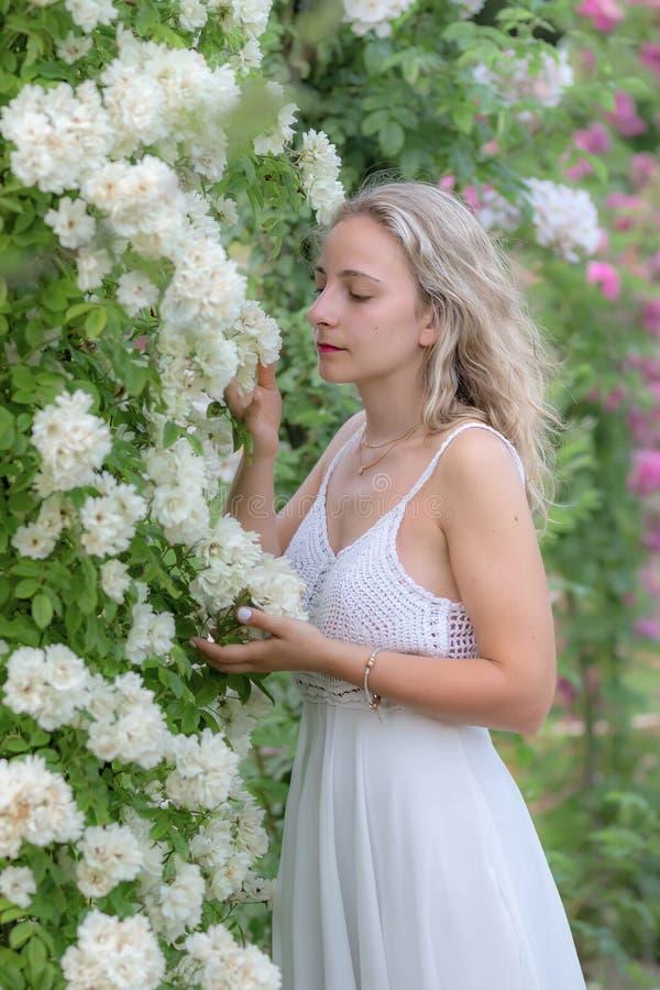 jeune femme en parc des roses image stock