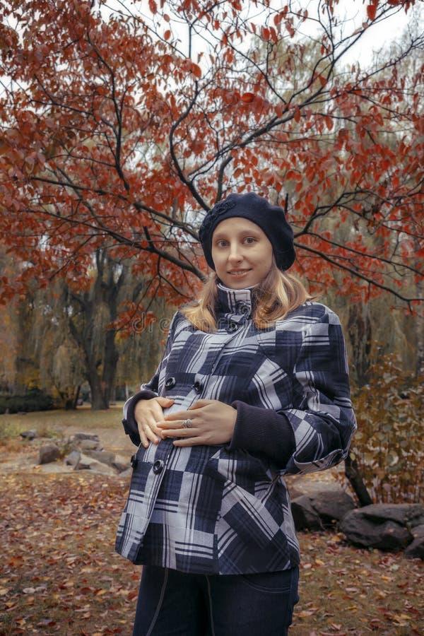 Jeune femme enceinte en parc d'automne photo libre de droits