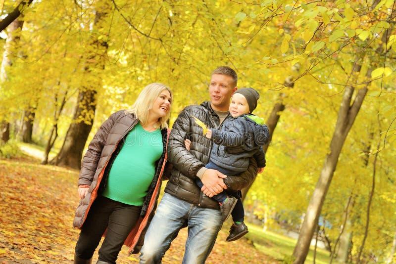 Jeune femme enceinte marchant en parc d'automne avec son mari et enfant images stock
