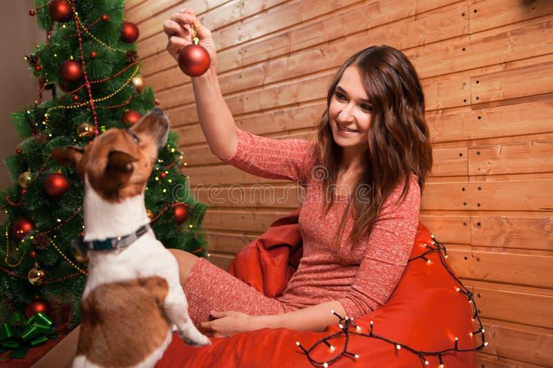 Jeune femme et chien heureux à Noël images stock