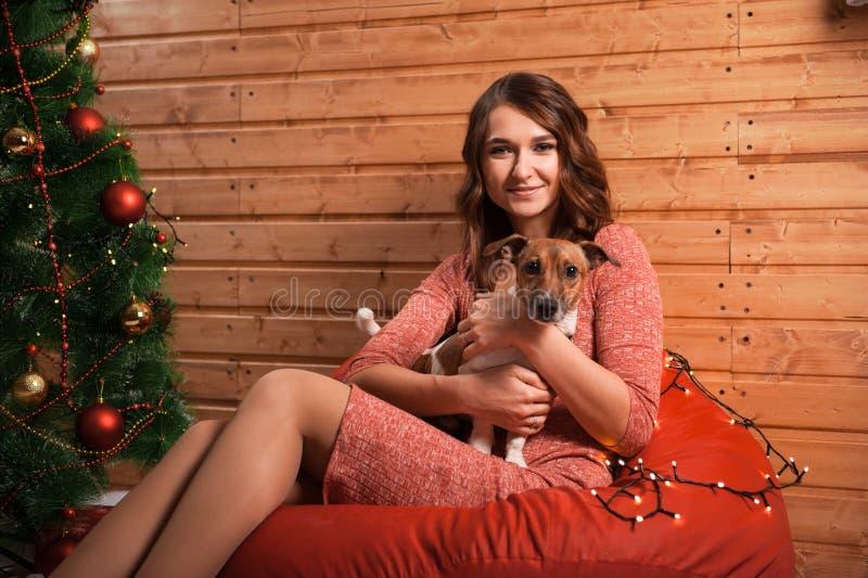 Jeune femme et chien heureux à Noël photographie stock