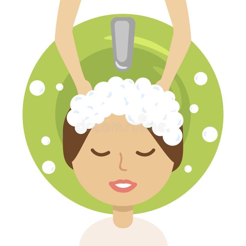 Jeune femme et coiffeur lavant sa tête au salon de coiffure illustration stock