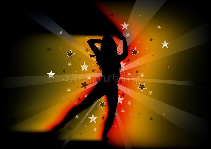 Jeune femme et faisceaux lumineux de danse silhouettés illustration libre de droits