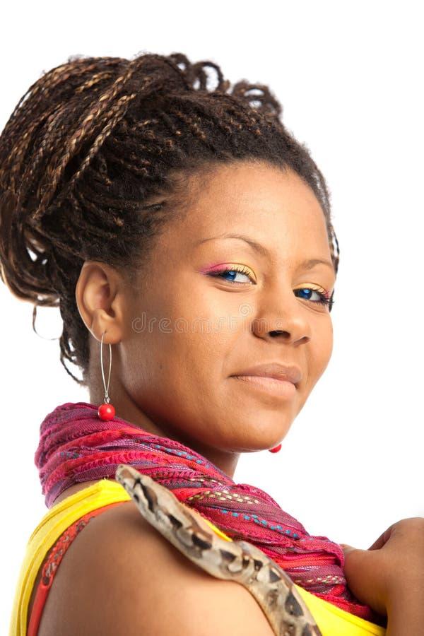 Jeune femme et serpent image libre de droits