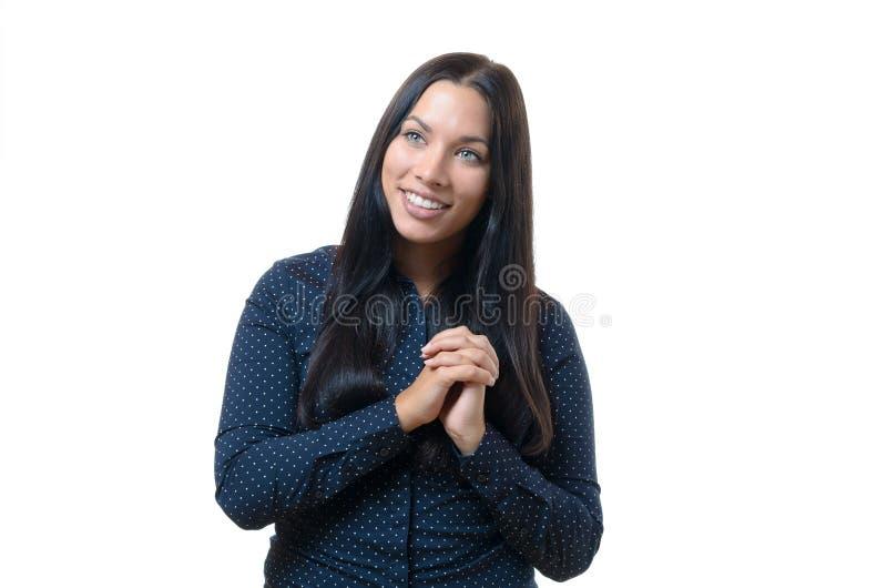 Jeune femme exaltée enthousiaste photographie stock