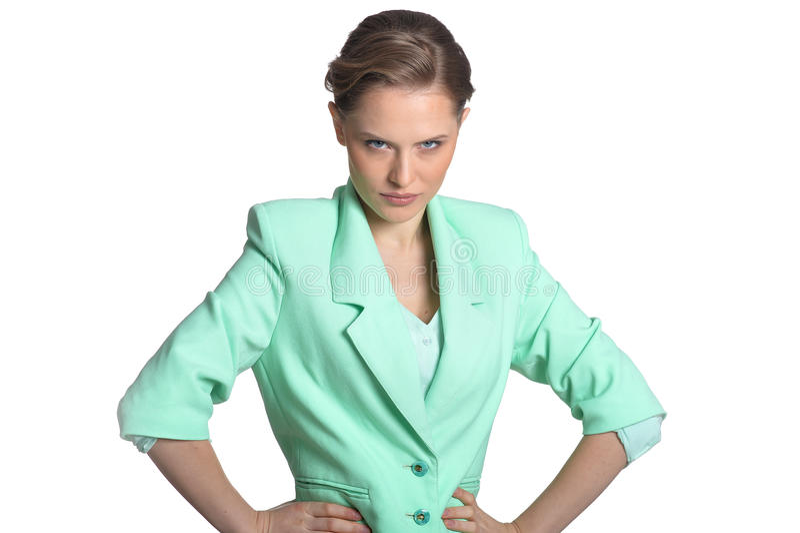 Jeune femme fâchée image stock