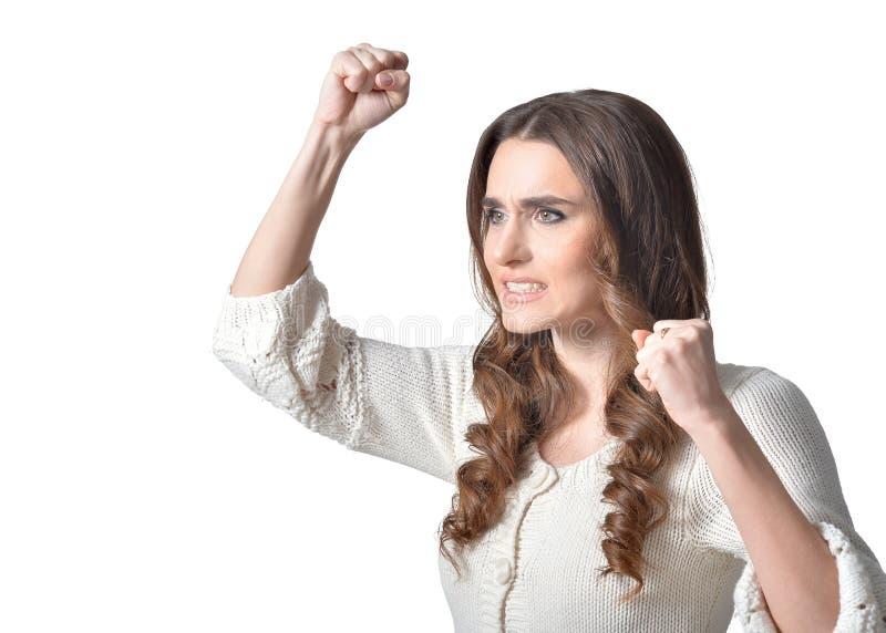 Jeune femme fâchée photo stock