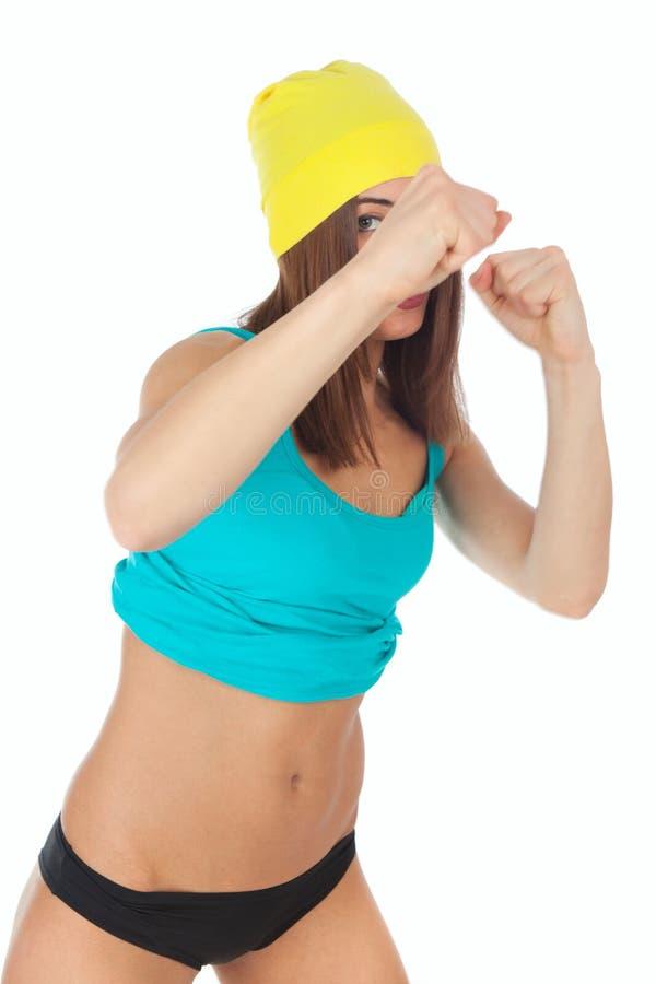 Jeune femme faisant des exercices de sport images stock